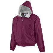 Augusta 3281A Youth Hooded Taffeta Jacket-Fleece Lined Maroon - Extra Small