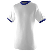 Augusta 710A Ringer T-Shirt White and Purple Medium