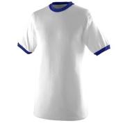 Augusta 710A Ringer T-Shirt White and Purple Medium