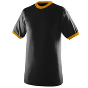 Augusta 711A Youth Ringer T-Shirt Black and Gold Medium