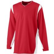 Augusta 4600A Wicking Long Sleeve Warmup Shirt Red-White - Medium
