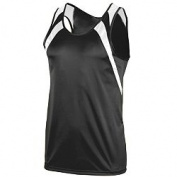 Augusta 311A Wicking Tank With Shoulder Insert Black & White - Small