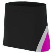 Augusta 9205A Ladies Skirt - Black & amp;#44; Power Pink and Metallic Silver & amp;#44; Large
