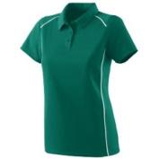 Augusta 5092A Ladies Winning Streak Sport Shirt - Dark Green And White Large