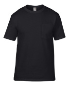Anvil 783 Adult Ring Spun Pocket Tee - Black Large