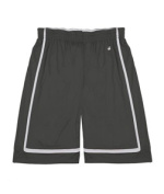 Badger 2248 Youth B-Line Reversible Short Graphite and White Medium
