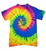 Colortone T1001 Multi Colour Tie Dye Tee Neon Rainbow - Small