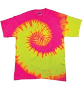 Colortone T1001Y Multi Colour Tie Dye Youth Tee Fluorescent Swirl - Large