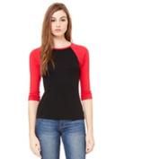 Bella-Canvas B2000 Womens Baby Rib 3 By 4 Sleeve Contrast Raglan Tee - Black & Red Small