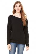 Bella-Canvas B7501 Womens Sponge Fleece Wide Neck Sweatshirt Solid White Triblend - Small