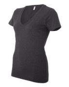 Bella-Canvas B6035 Womens Jersey Short Sleeve Deep V-neck Tee Dark Grey Heather - Extra Large