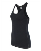 Alo W2170 Womens Performance Racerback Tank Solid Black Triblend Large