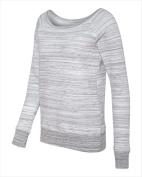 Bella-Canvas B7501 Womens Sponge Fleece Wide Neck Sweatshirt - Light Grey Marble Fleece Small