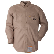 Berne Apparel FRSH10KHR400 Fr Button Down Workshirt Khaki - Medium