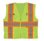 2W M7048C-2 3XL Class 2 Mesh Multi-Pocket Vest - Lime 3 Extra Large