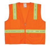 2W 8038-A XL Multi-Pocket Surveyor Vest - Orange Extra Large