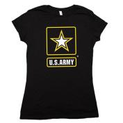 Fox Outdoor 64-0916 M Womens Army Star Imprint Cotton Tee - Black Medium