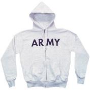 Fox Outdoor 64-84 L Mens Army Zip Front Hooded Sweatshirt Grey - Large