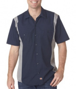 Dickies LS524 Adult Industrial Colour Block Shirt - Navy & Smoke Small