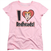 Archie Comics-I Love Redheads - Short Sleeve Womens Tee Tee Pink - Extra Large