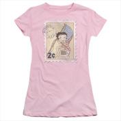 Boop-Vintage Stamp - Short Sleeve Junior Sheer Tee Pink - Small
