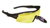Rayzor Professional Lightweight Black UV400 Sports Wrap Cycling Sunglasses, With a 1 Piece Vented Light Enhancing Clear Yellow Anti-Glare Lens.