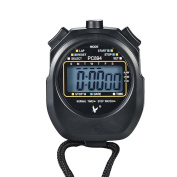 Digital Sport Stopwatch Timer Chronograph Athletic Watch with Clock Alarm, Calendar and Large LCD Display, Made of Water Resistant Material