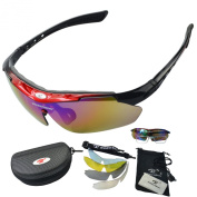 West Biking Unisex 5 Interchangeable Lenses Safety Eyewear Glasses Cycle Polarised UV Windproof Bike Bicycle Cycling Sunglasses For Fishing Running Camping Driving Sports