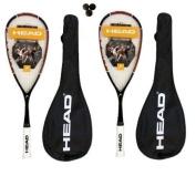 2 x Head Nano Ti.110 Titanium Squash Rackets + 3 Dunlop Squash Balls RRP £410