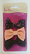 Cute Girls Patterned Hair Bow Clips 3 Pack Dots Lace Flowers Panther Plain