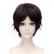 30cm Straight Party Hair Wig Anime Attack On Titan Eren Jaeger Dark brown Short Cosplay Wig