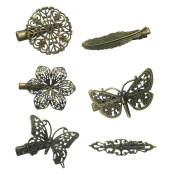 BestOfferBuy 6PCS Assorted Vintage Hair Clips Pins Butterfly Dragonfly Flower Feather