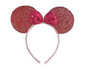 Light Pink Sparkly Minnie Mouse Ears Fancy Dress Headband