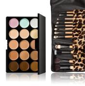 SONGQEE(TM) New 15 Colours Contour Face Cream Makeup Concealer Palette 12pcs Leopard Brush