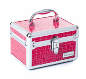 Urbanity Aluminium Makeup Cosmetics Vanity Case Beauty / Jewellery Box Pink Croc