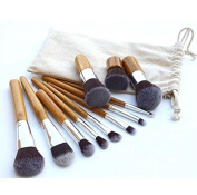 Contever® Premium Traditional 11pcs Makeup Brush Set - Natural Bamboo Handles Super Soft Bristles / Face Powder / Concealer / Eyeshadow / Blending / Contour / Eyeliner Lip Brush Tool - with Carry Bag