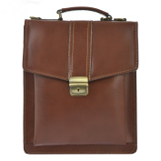 CTM Business bag, man's briefcase with shoulder belt, genuine leather made in Italy D7012 - 27x32x10 Cm