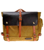 ZLYC Retro Men's Handmade Waterproof Leather Canvas Shoulder Bag Messenger Briefcase Fits Up To 36cm Laptops