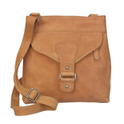 Vilenca Holland 40551 Tan Unisex Shoulder Bag for Men & Women, Vintage leather handbag shoulder bag - 26cmx27cmx7cm