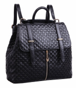 HopeEye Womens New Fashion Black Genuine Leather Backpack Handbags Cross Body Bags Shoulder Bags Casual Daypacks