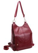 HopeEye Womens New Fashion Red wine Genuine Leather Backpack Handbags Cross Body Bags Shoulder Bags Casual Daypacks