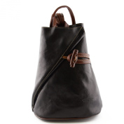 Leather Backpack For Women With Zipped Straps Black Brown - Leather Goods Made In Italy - Backpack