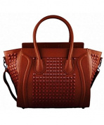 STUDDED TOTE BROWN