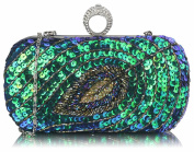 Peacock Sequin Feather Boxed Clutch Bag (20cm x 10cm ) with PreciousBags DustBag