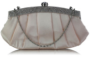 Satin Ruched Diamante Clutch Bag (28cm x 15cm ) with PreciousBags DustBag