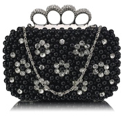 Pearl Beaded Crystal Knuckle Clutch Bag (18cm x 10cm ) with PreciousBags DustBag