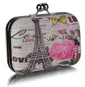 Love Eiffel Tower Print Clutch Bag (15cm x 10cm ) with PreciousBags DustBag