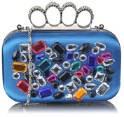 Crystal Satin Knuckle Clutch Bag (18cm x 10cm ) with PreciousBags DustBag