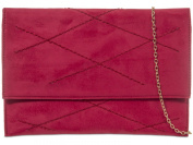 Haute For Diva's Womens Soft Faux Suede Embroidery Cheque Bridal Party Prom Evening Clutch Handbag