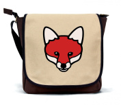 Paw Prints Canvas Messenger Bag with Fox Design. Available in blue, pink and brown.